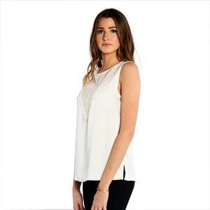 Vince Camuto Sleeveless Mesh Blouse Pearl Ivory XS